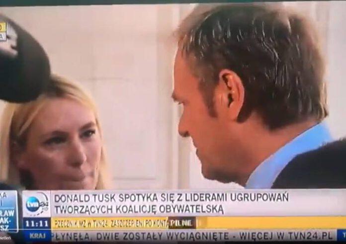 Donald Tusk i dziennikarka TVP